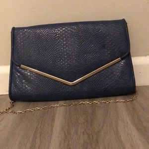 Navy & Gold clutch bag